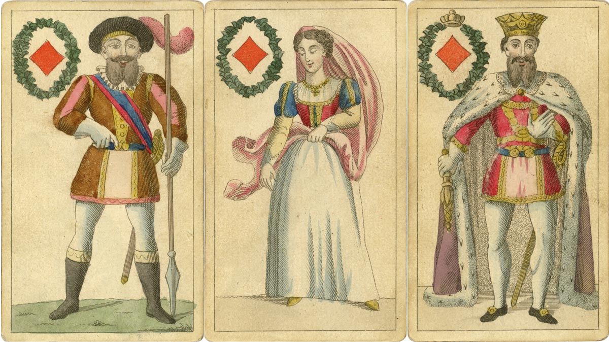 Translucent Playing Cards made by an unknown maker, c.1850