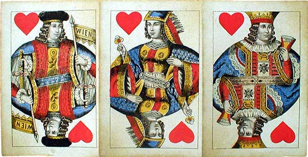 three cards from 19th century Vienna pattern made in Austria by C. Titze & Schinkay