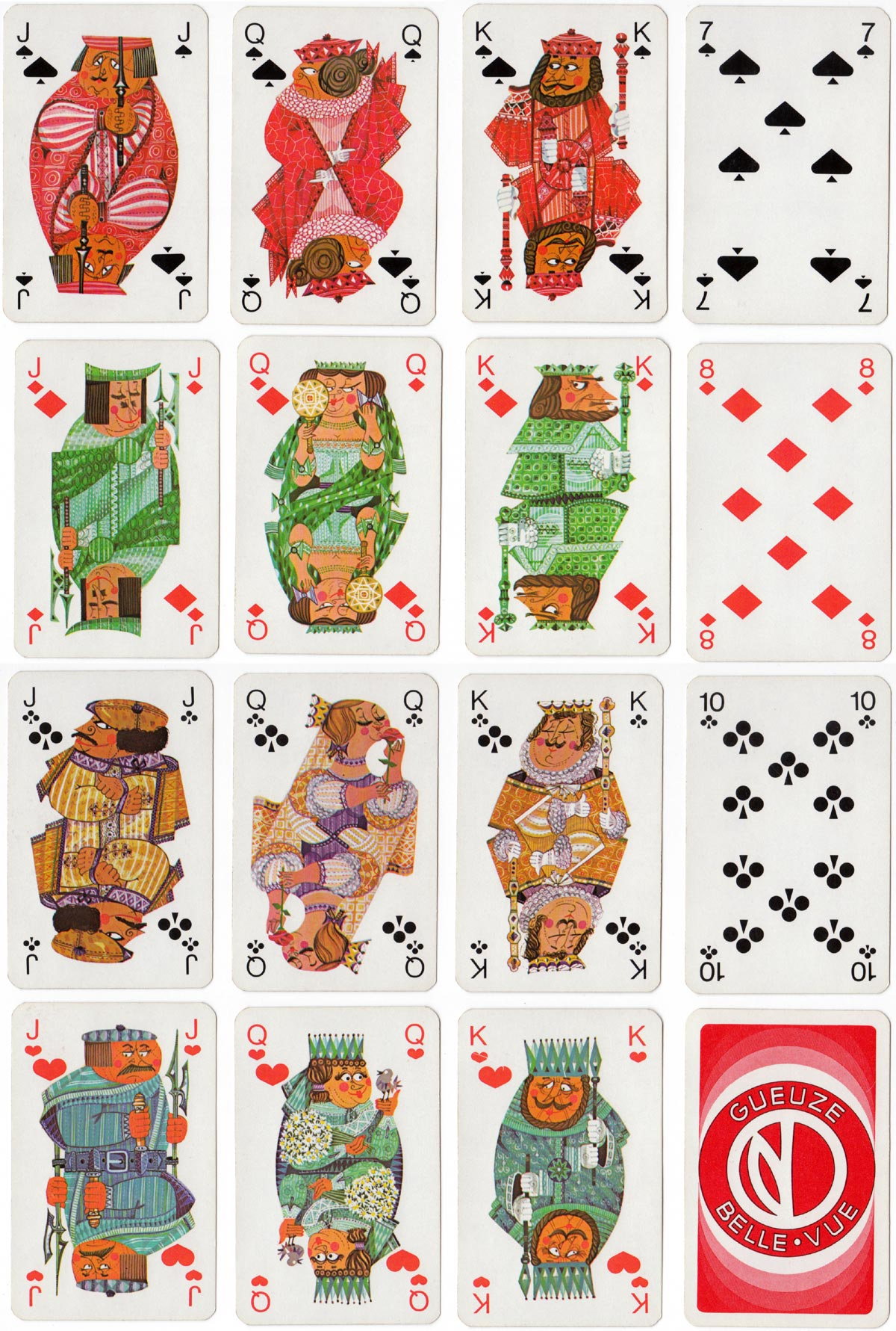 Promotional playing cards for Brasserie Belle-Vue designed by Wim Simons, Belgium, c.1969