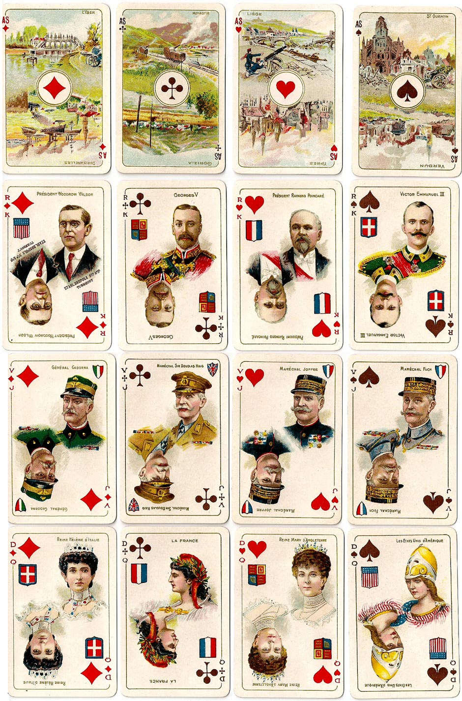 World War I commemorative playing cards published by Brepols, Turnhout, 1919