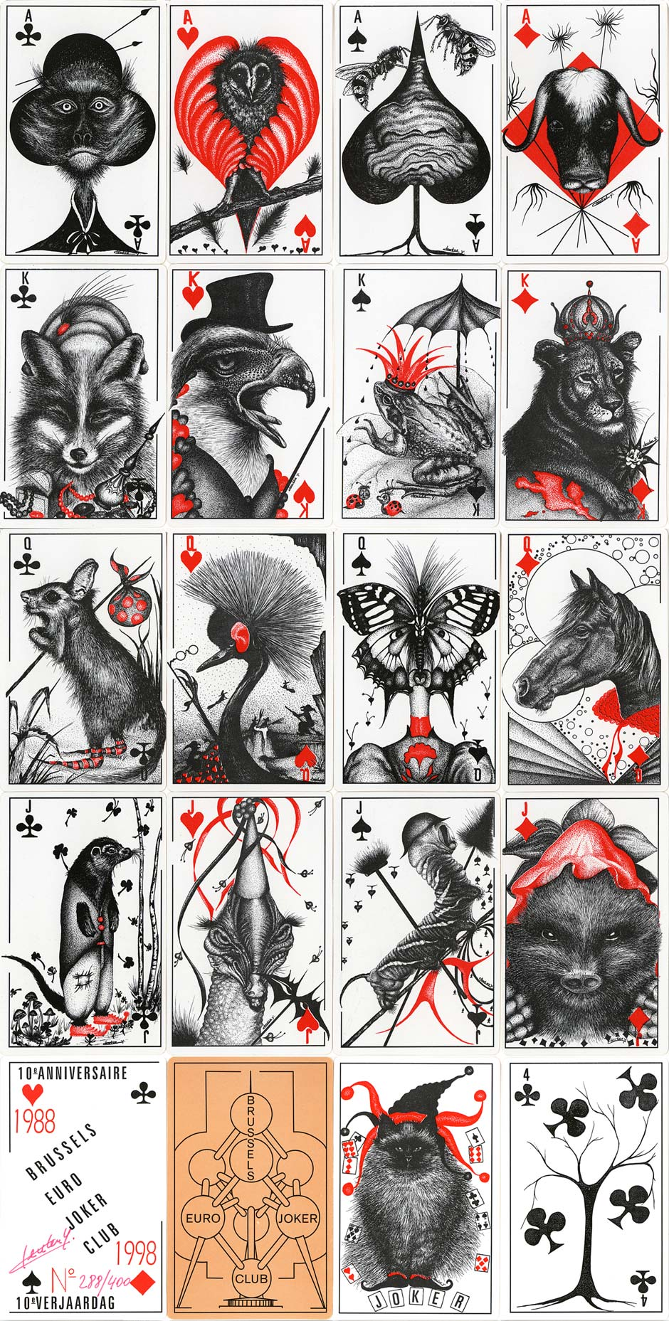Brussels Euro Joker Club's 10th Anniversary deck with artwork by Yvette Cleuter