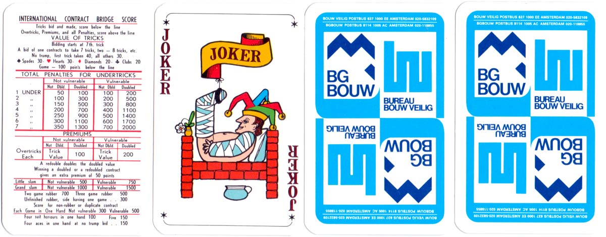 BG Bouw Dutch Building Company publicity deck manufactured by Carta Mundi, c.1980