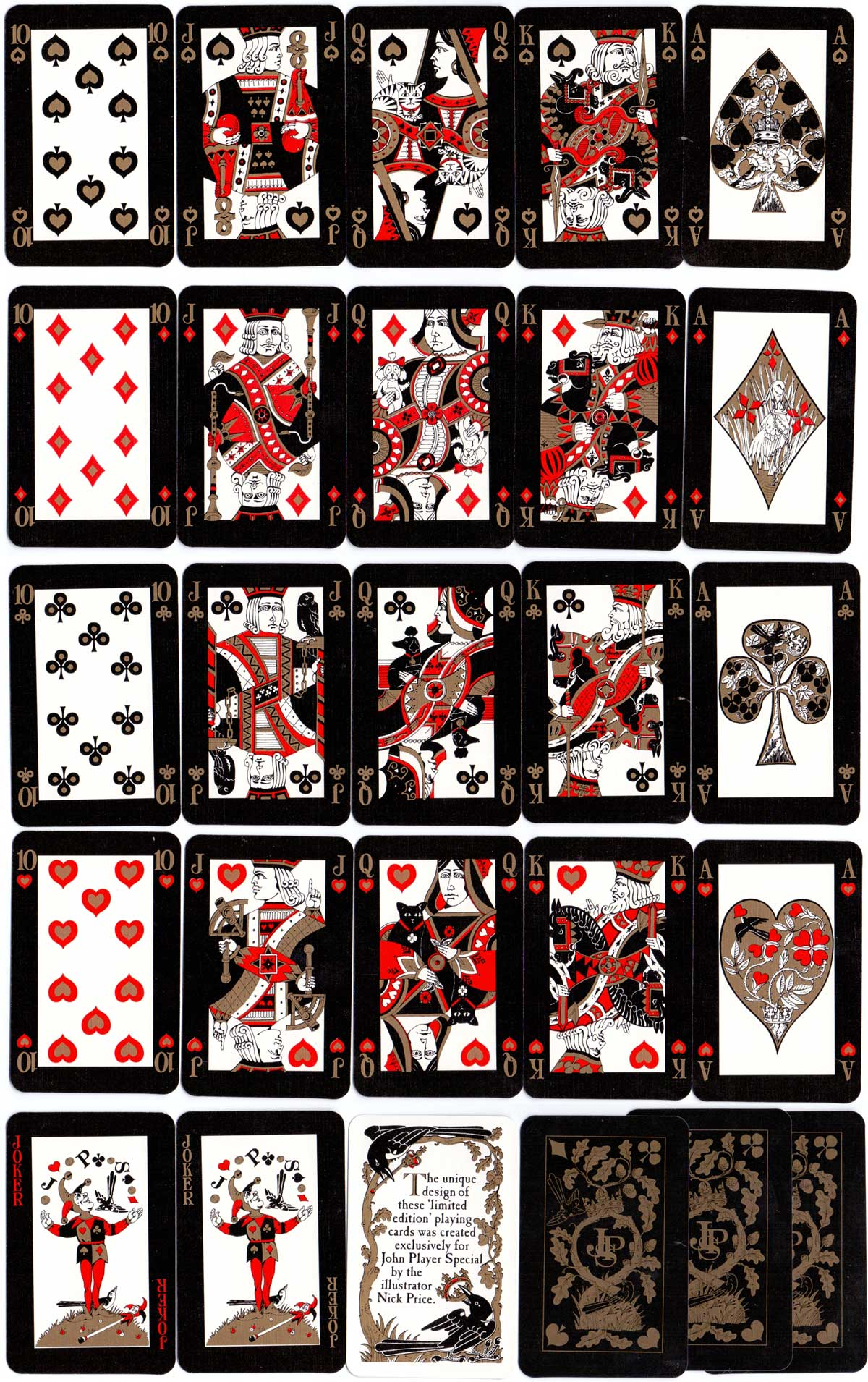 John Player Special non-standard playing cards created by the illustrator Nick Price, 1987