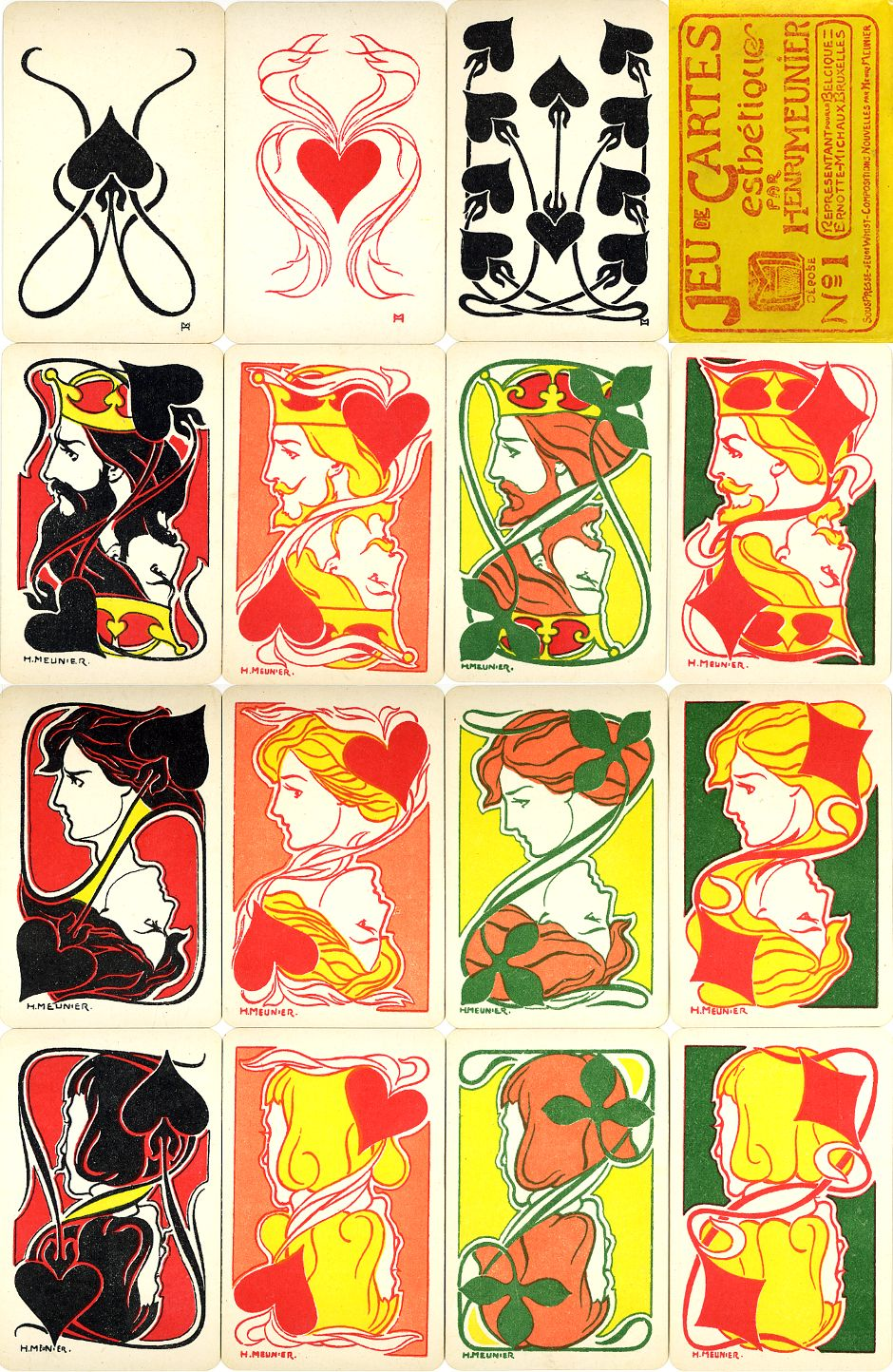 Jeu de Cartes Estétique Nº1, designed by Henri Meunier & published by Ernotte Michaux, 1900