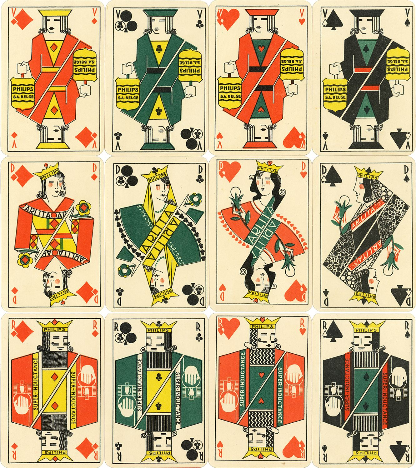 Philips 'Arlita' advertising playing cards made by Etabl. Mesmaekers Frères S.A., Belgium, 1925