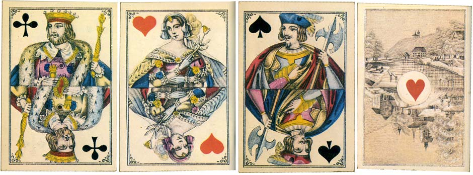 Bongoût pattern playing cards with special scenic Aces for Brazil manufactured by A. Van Genechten, 1870