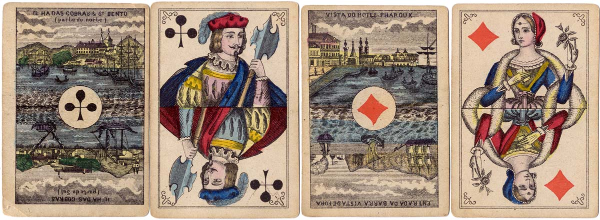 Bongoût pattern playing cards with special scenic Aces for Brazil manufactured by A. Van Genechten, Belgium, 1870