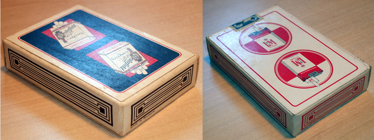 two different tobacco advertising decks made in Belgium by A. van Genechten, 1960s