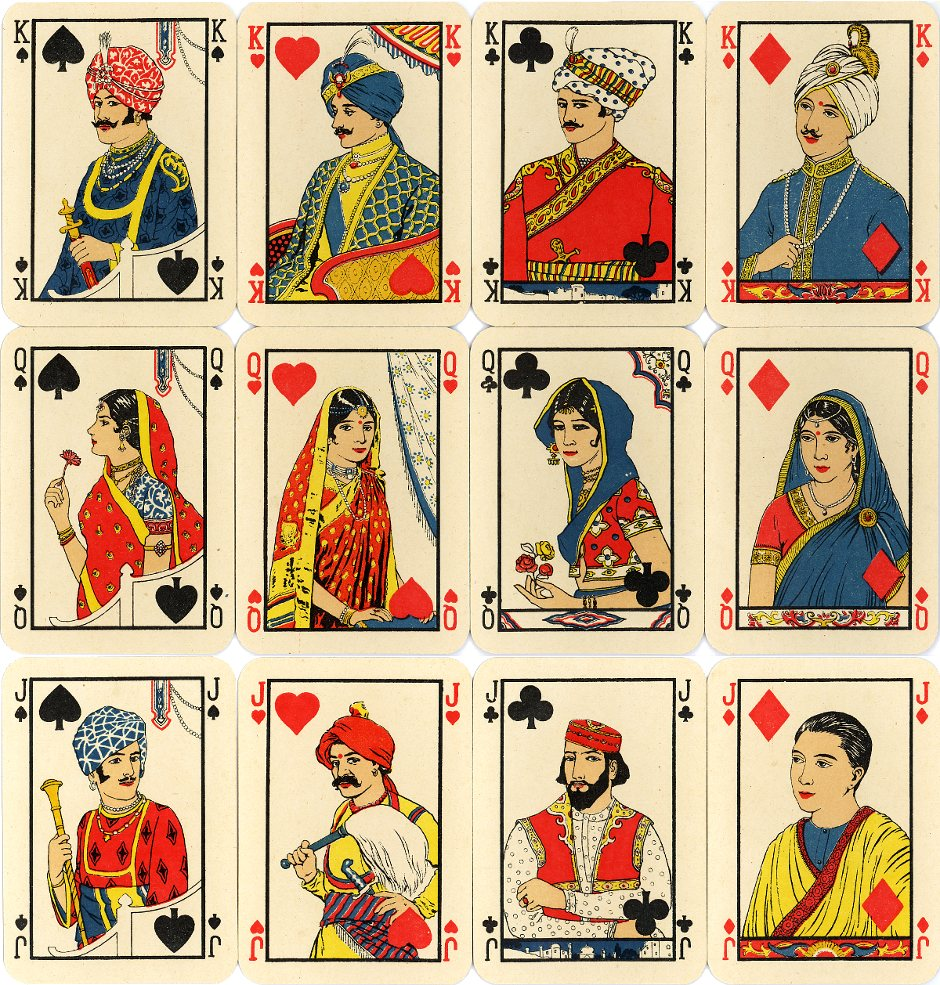 'Dilkhus' playing cards manufactured by Van Genechten, Belgium, 1922