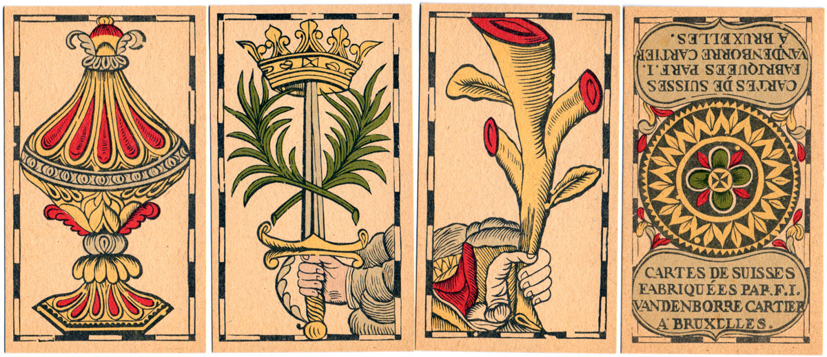 the four aces, Vandenborre Tarot, Brussels, c.1780