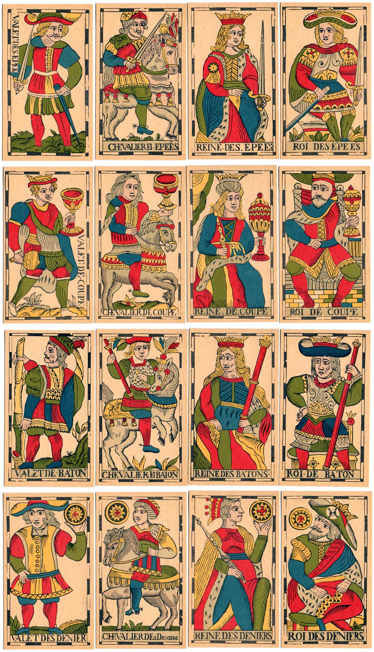 the 16 court cards, Vandenborre Tarot, Brussels, c.1780