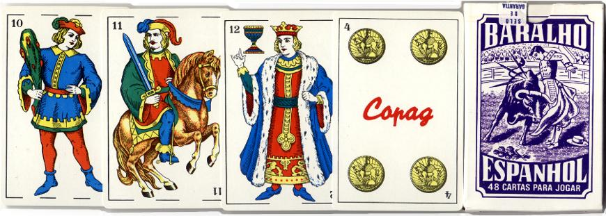 Baralho Espanhol Spanish-suited playing cards made by Copag, Brazil, 1990