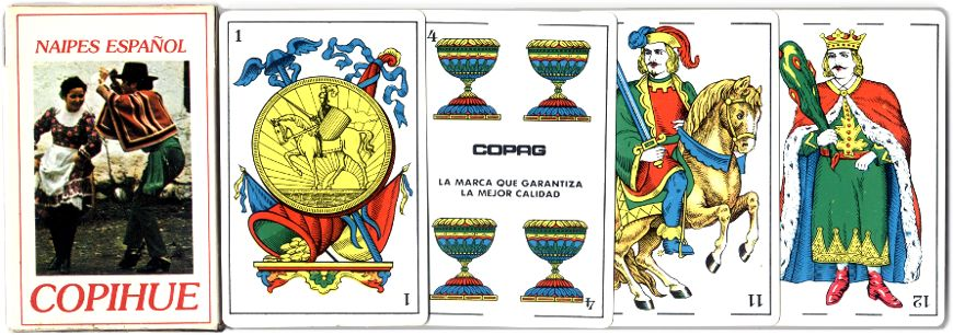 Naipes Español Copihue Spanish-suited playing cards made by Copag, Brazil