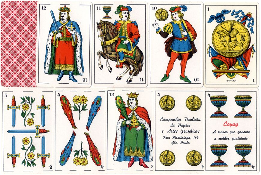 Sevilha Tipo Espanhol Spanish-suited playing cards made by Copag, Brazil, c.1960