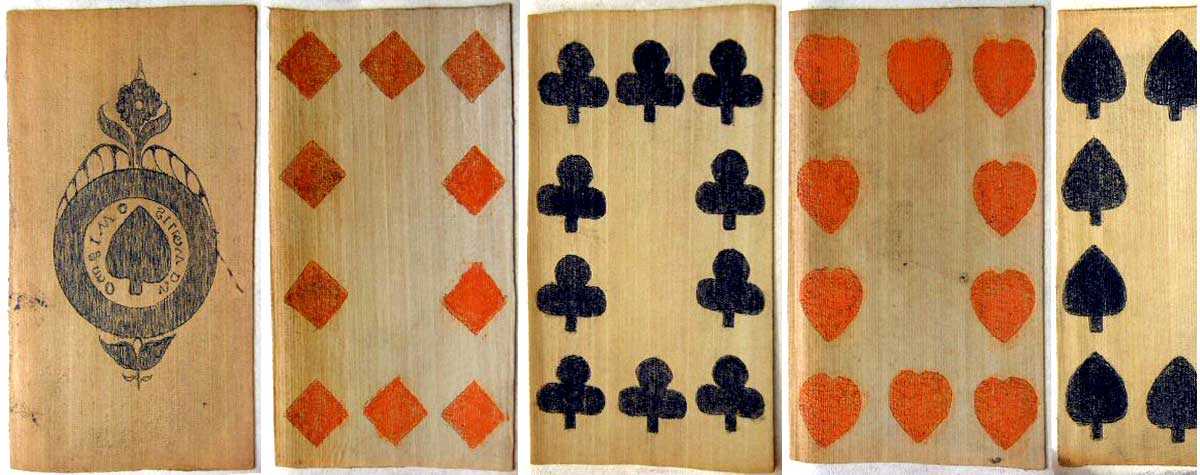 English Standard pack hand drawn & coloured on banana leaf, c.1820