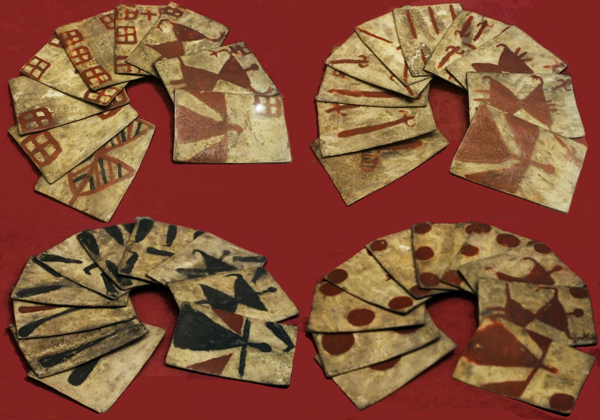 Spanish-suited playing cards made on rawhide and used by the Mapuche Indians, Chile, XVI-XVII century