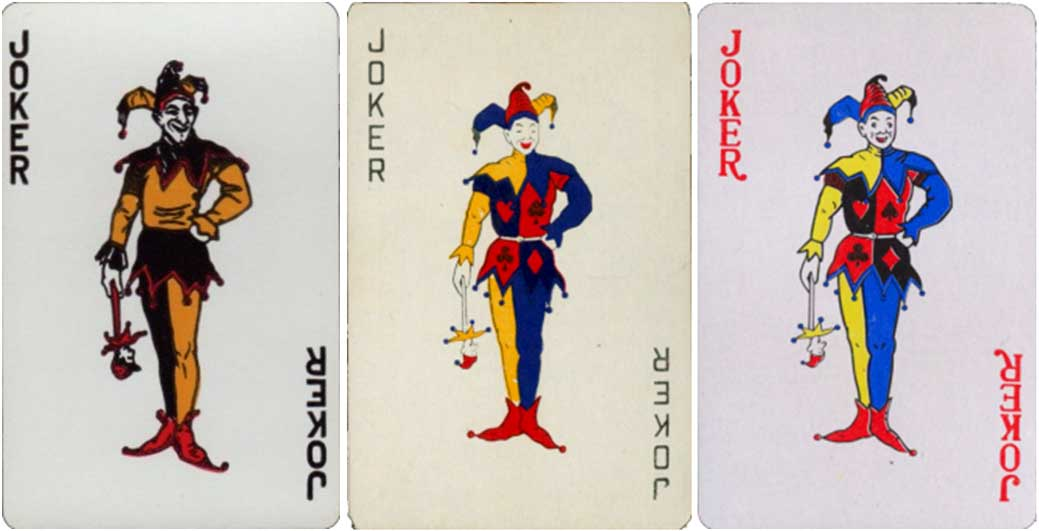 US playing card company standing jester and Chinese copies