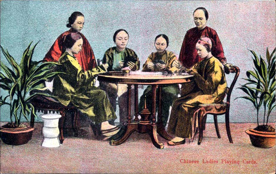 Chinese ladies playing cards