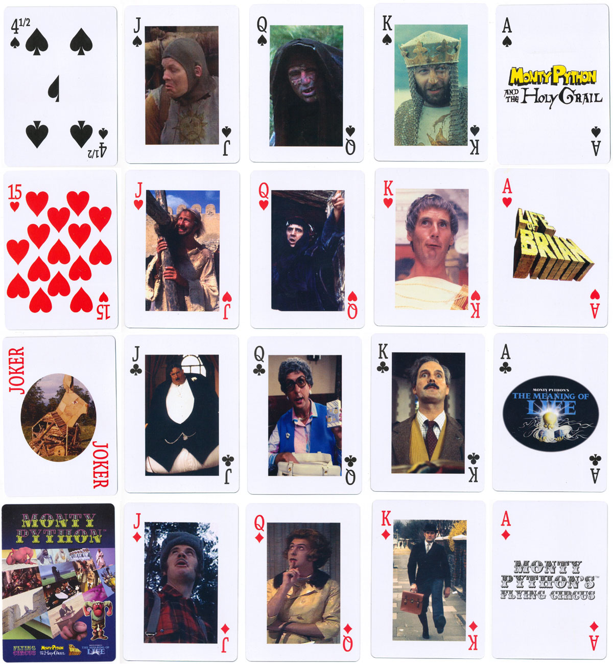 Monty Python playing cards marketed by 're:creation' and made in China