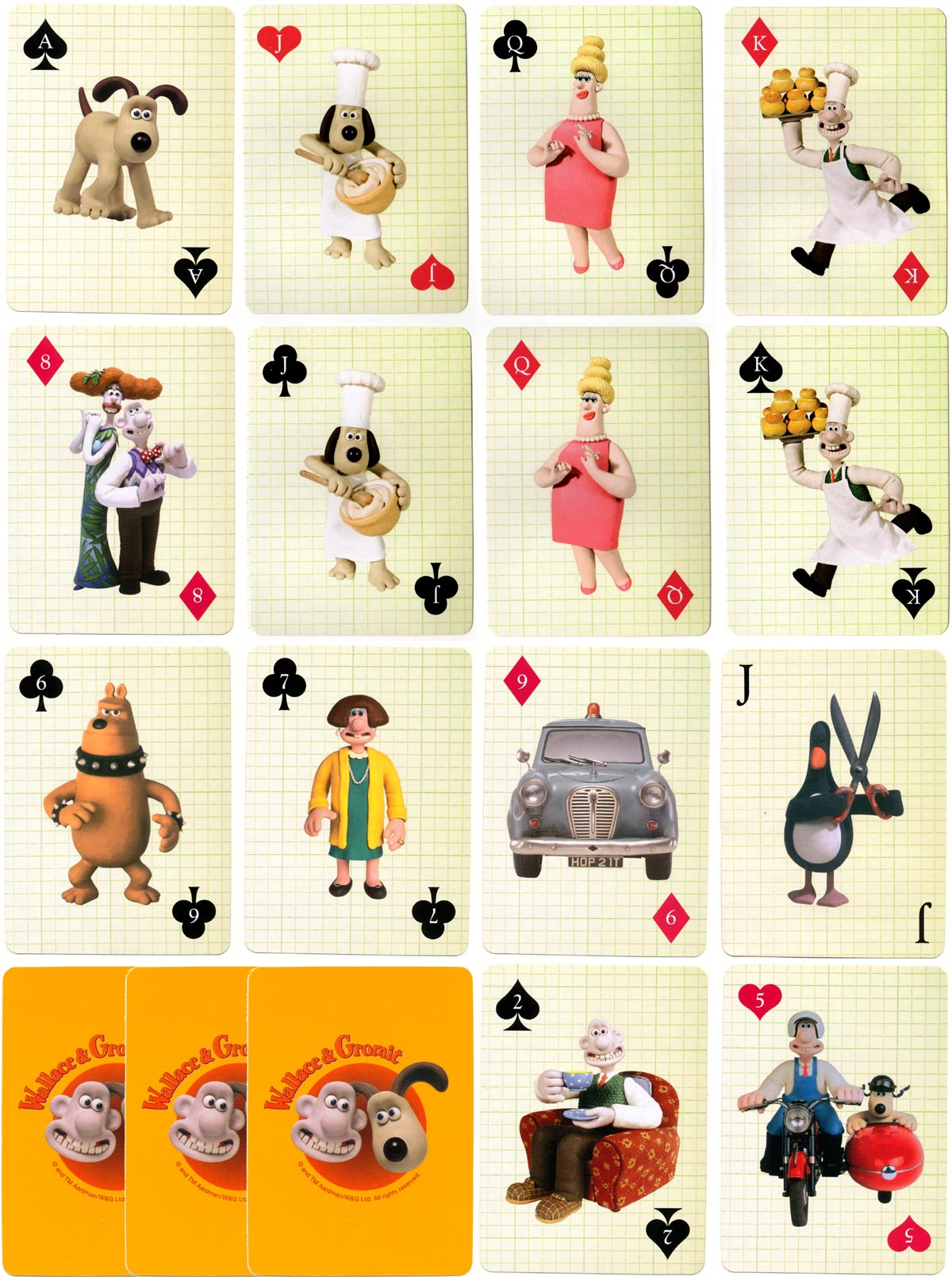 Wallace & Gromit playing cards published by Marks & Spencer, 2009