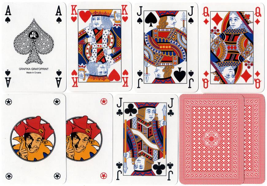 standard Anglo-American style playing cards produced in Croatia by Grafika-Grafoprint