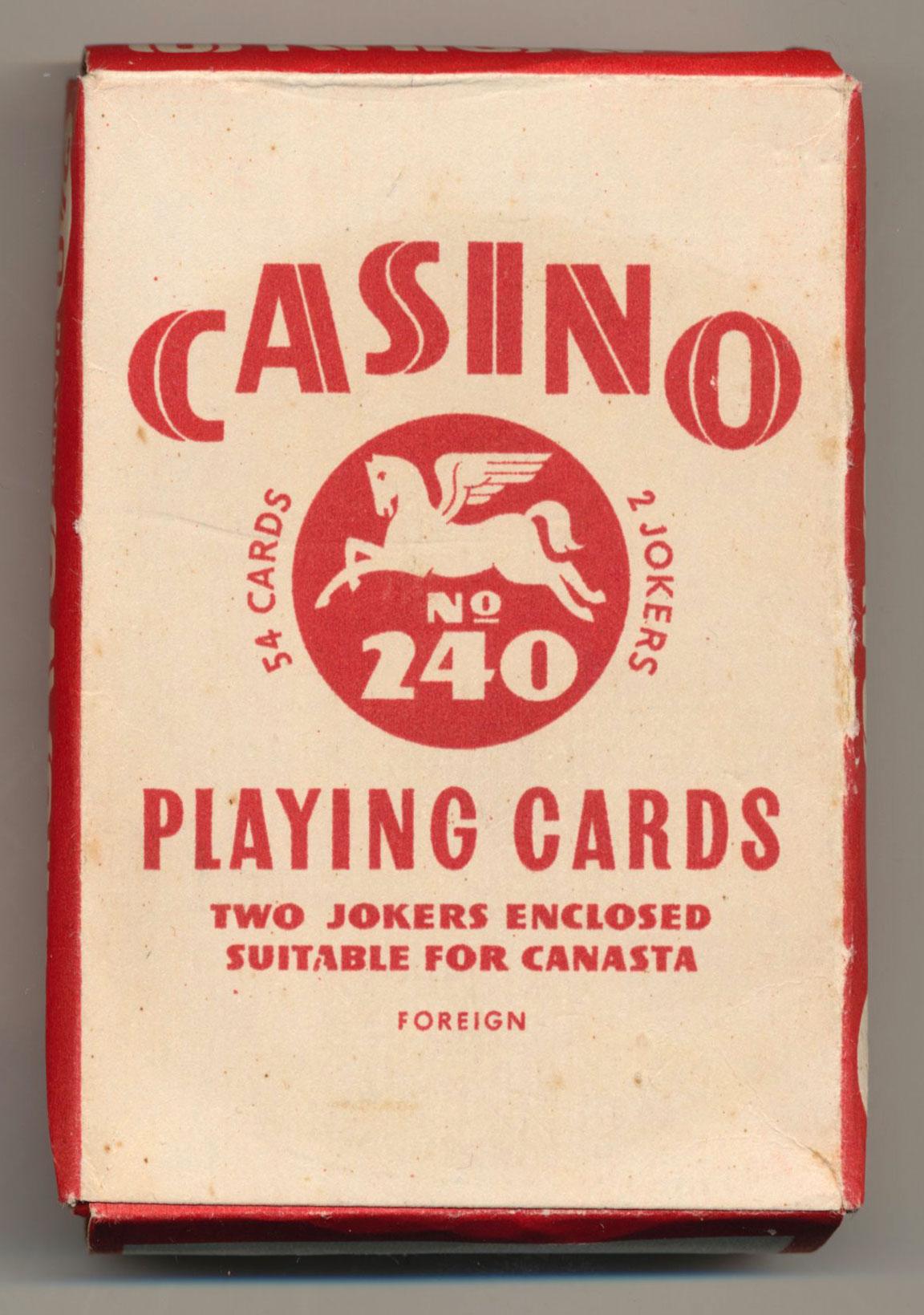 No.240 'Casino' playing cards manufactured by Obchodní Tiskárny, 1955, in importation duty wrapper