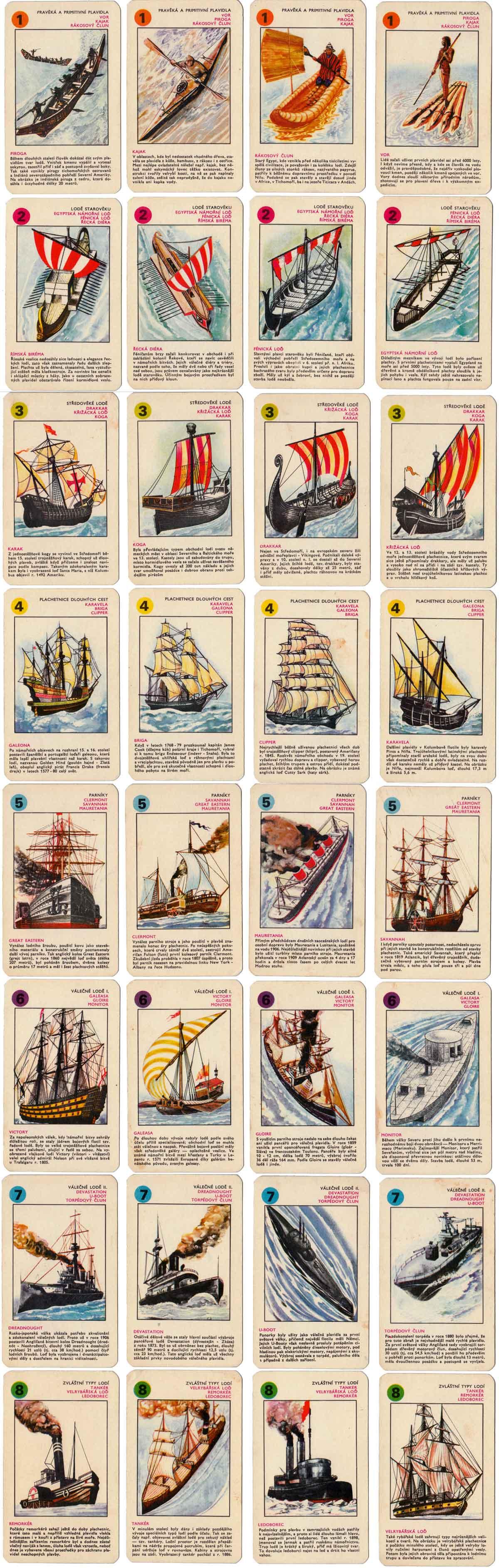 Historic Ships quartet game from Czechoslovakia illustrated by Jaromír Vraštil