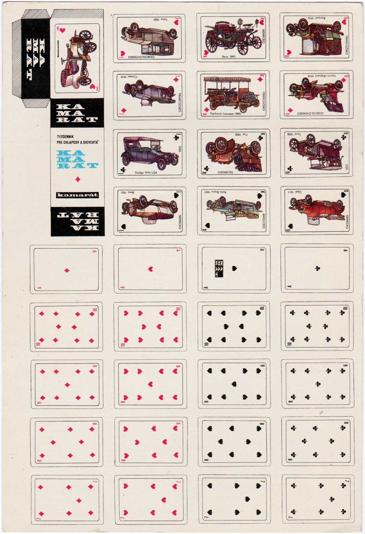 Kamarát uncut sheet of miniature toy playing cards from Czechoslovakia, 1987