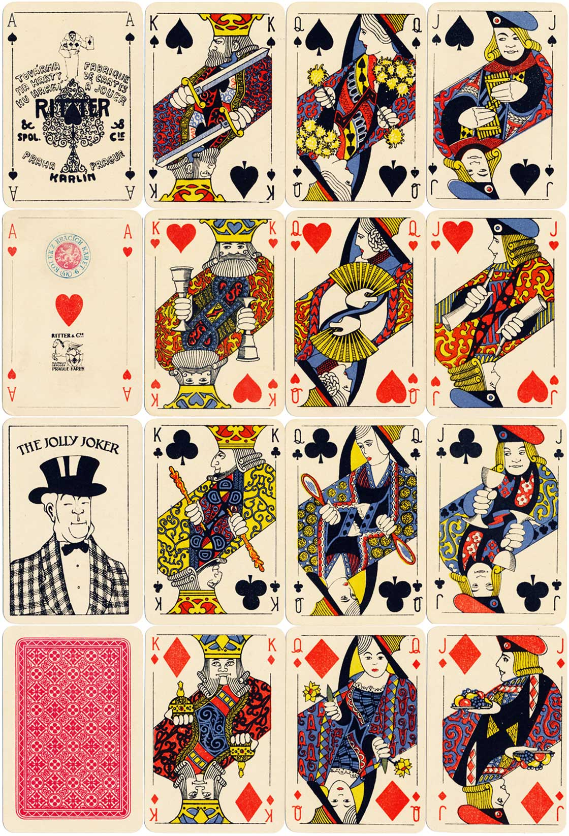 Art Deco style playing cards by Ritter & Cie, Prague, 1933