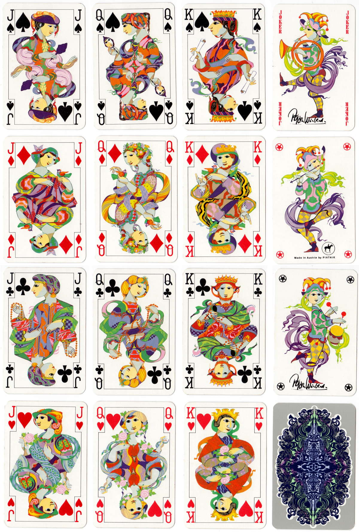 Bjørn Wiinblad playing cards published by Piatnik, late 1970s