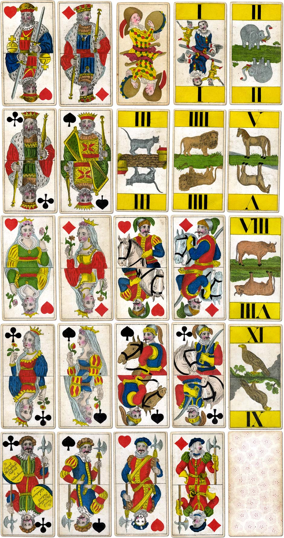 Jacob Holmblad's Animal Tarot cards, c.1835, coloured with stencils