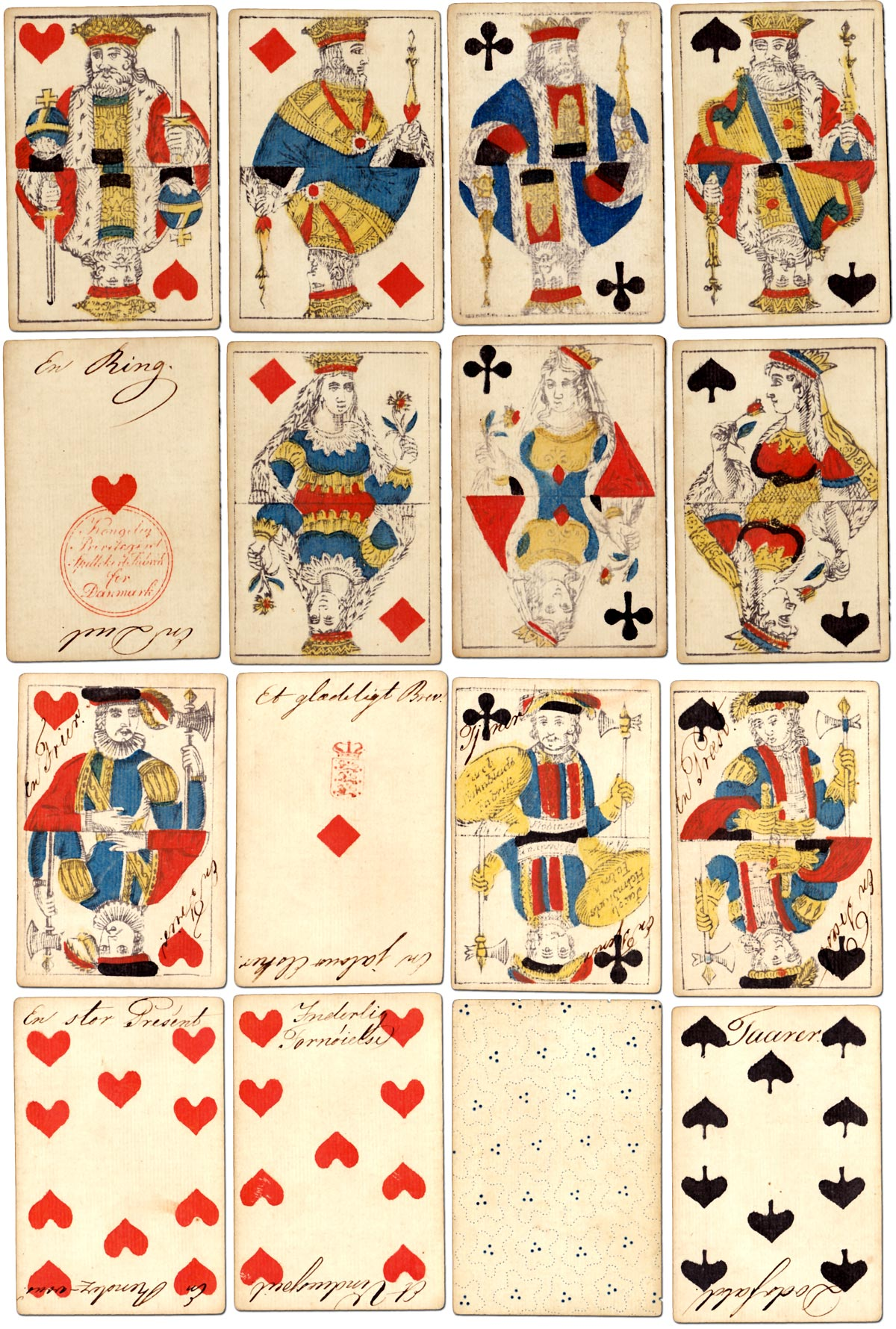 Standard woodblock and stencil pack produced by Jacob Holmblad with double-ended court cards in the tradition of the French 'Paris' pattern, c.1820