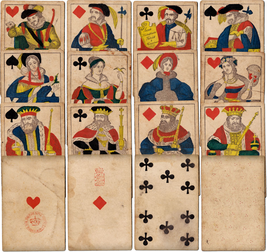 playing cards made by Jacob Holmblad, Copenhagen, 1820s