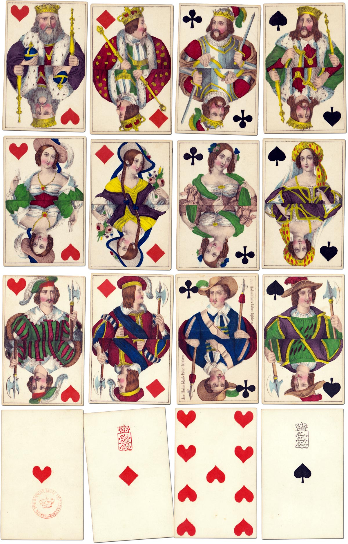 Fine quality cards by Jacob Holmblad, grand-father of Danish playing cards, Copenhagen, c.1830
