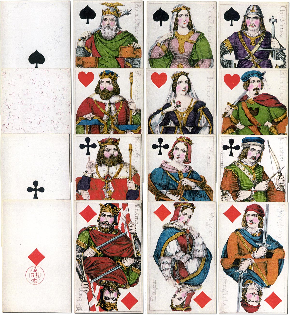 Danish historical playing cards, L. P. Holmblad, c.1850