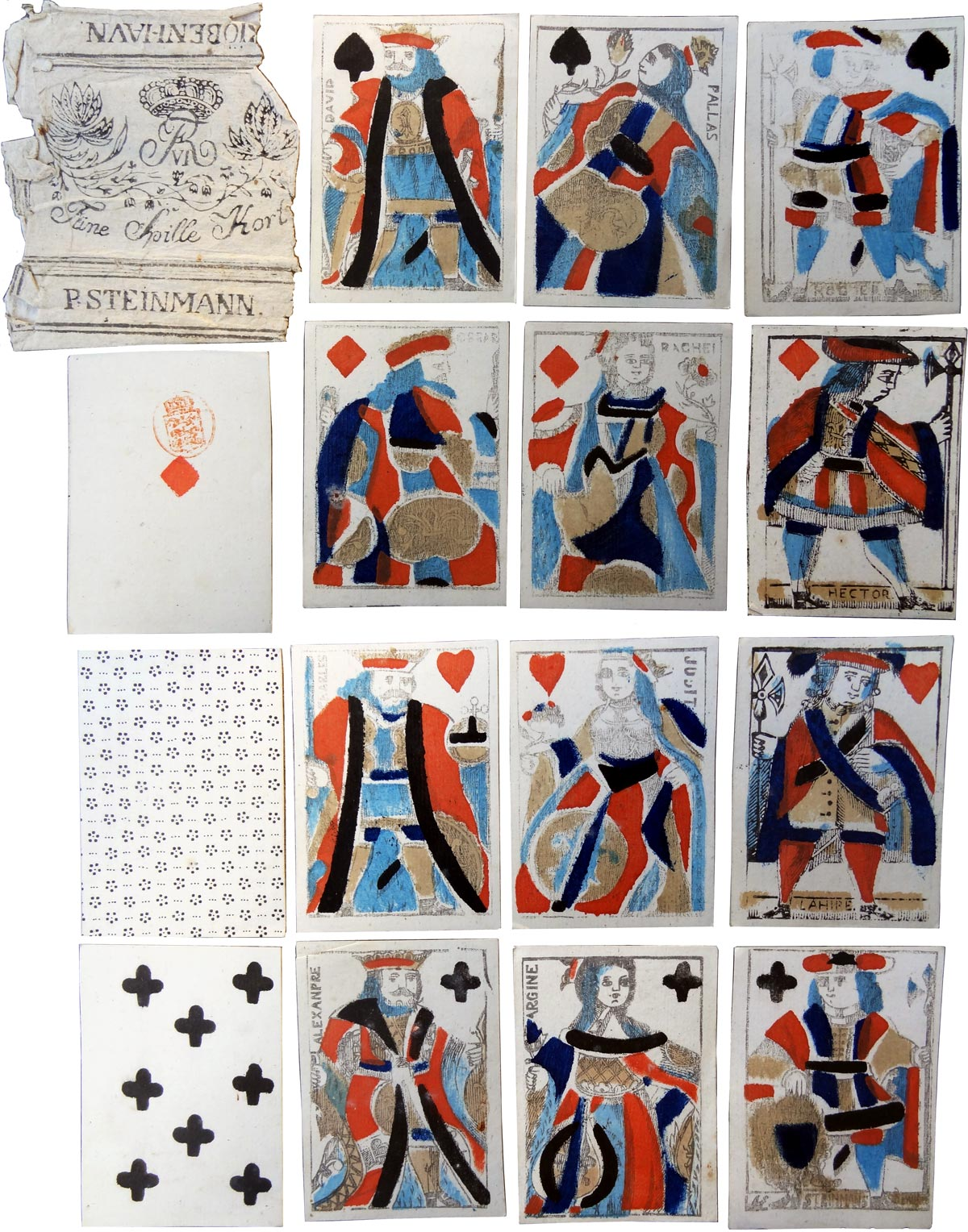 cards in the French style manufactured by P. Steinmann, Copenhagen, c.1810-20