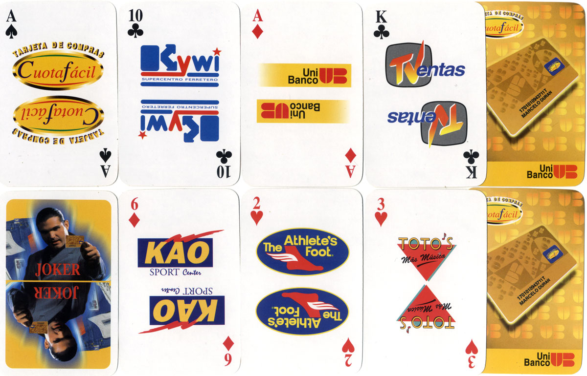 CuotaFácil Playing Cards produced for UniBanco, published by Poligrafica C.A., Ecuador