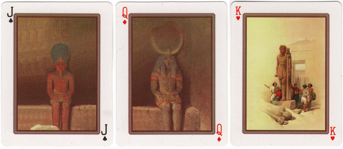 """David Robert"" playing cards with artwork after Roberts' Sketches in Egypt and Nubia"