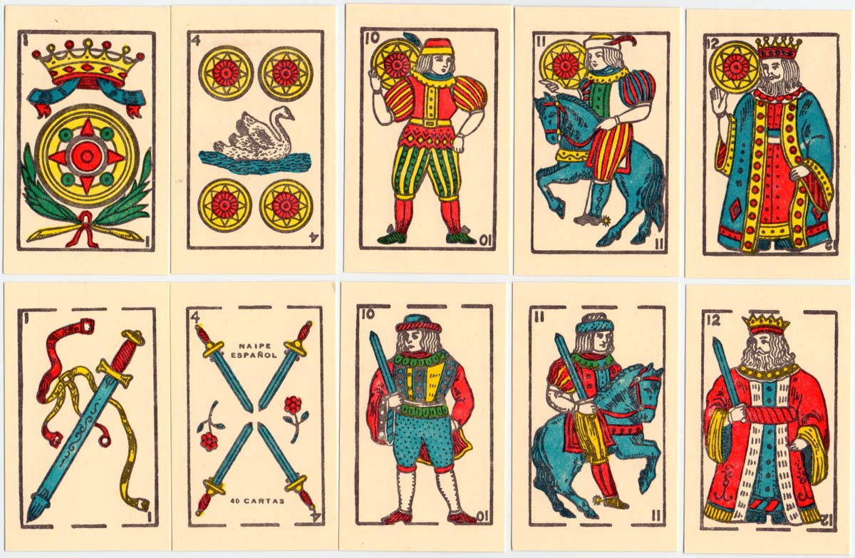 """Naipes opacos """"Cisne"""" manufactured in El Salvador by a local printer imitating Spanish cards, c.2002"""