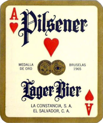 Pilsener Lager Beer label from El Salvador designed as a playing card