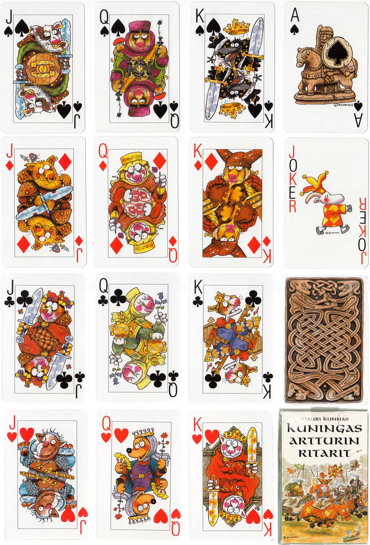"""Kuningas Artturin Ritarit"" (King Arthur's Knights) playing cards designed by Mauri Kunnas"