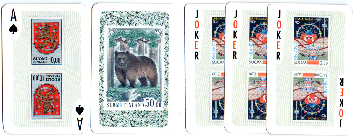 Playing cards featuring a selection of Finland's postage stamps made by Nelostuote Oy (Tactic Games), Pori, Finland