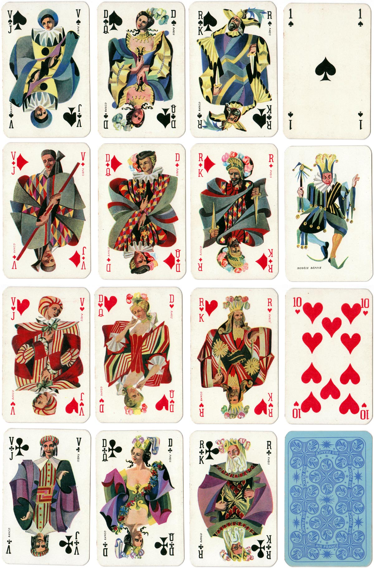 Banco playing cards for Air France manufactured by Draeger Frères, c.1952
