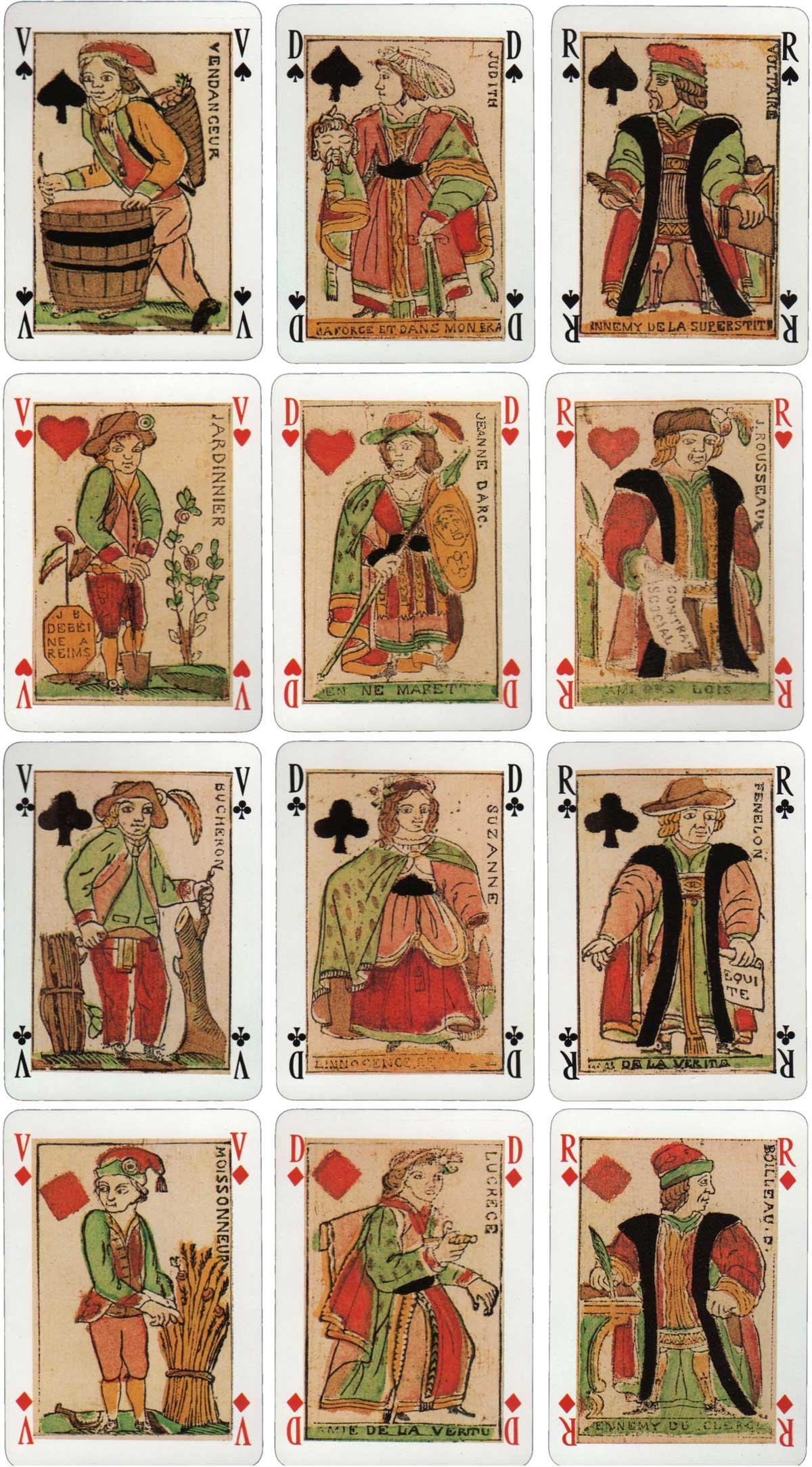 """""""Jeu des Quatre Saisons de l'An II"""" facsimile of original deck published by J. B. Debeine (Reims) 1793"""