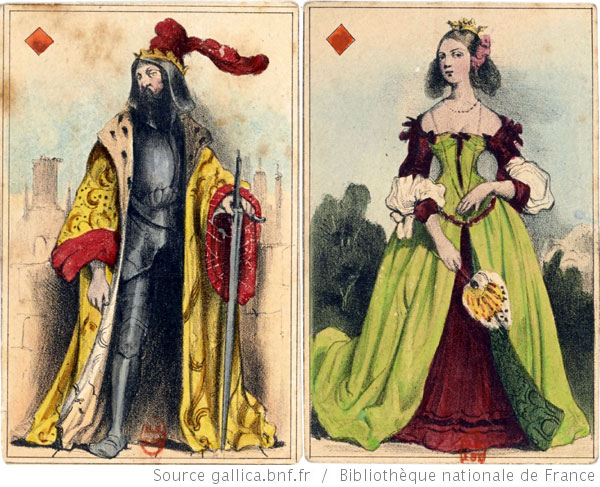 playing cards published by Mantoux in 1838 inspired by illustrations by Célestine Nanteuil (1813-1873)