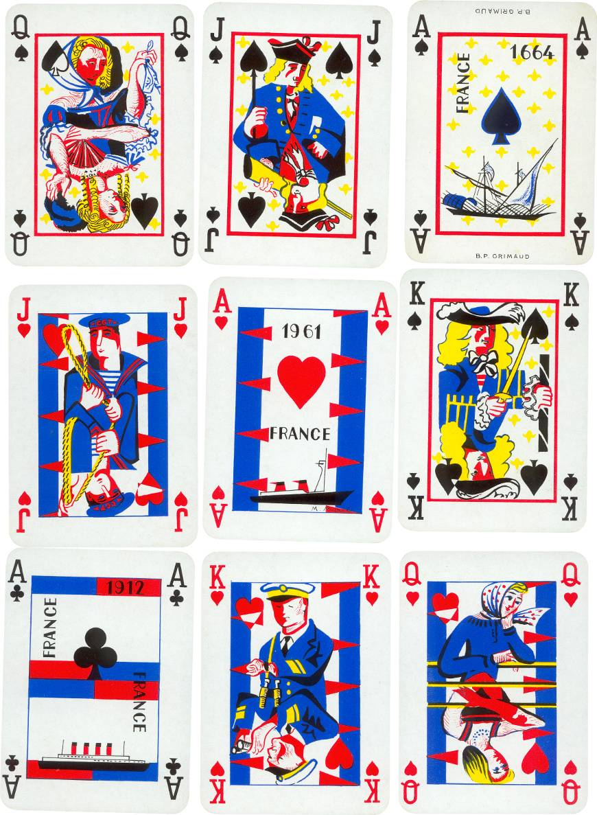 S.S. France maiden voyage playing cards published by B. P. Grimaud, 1962
