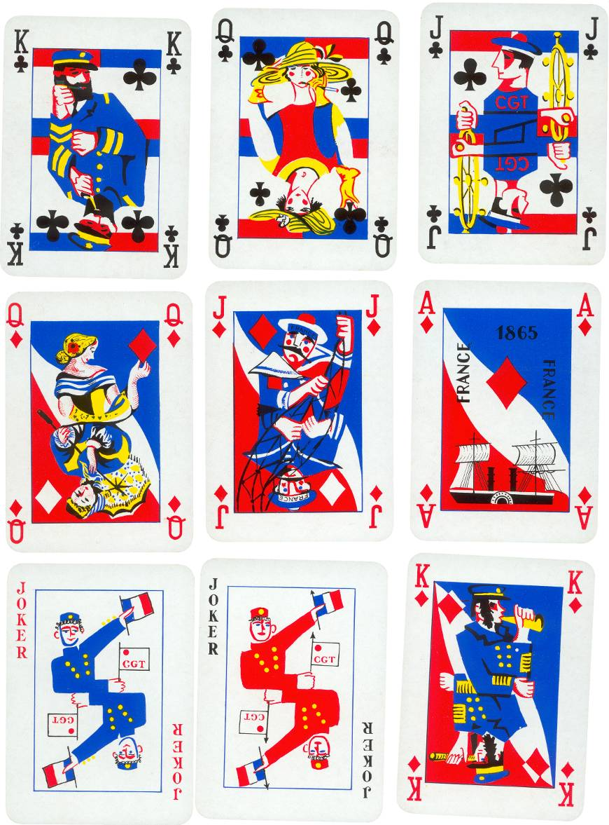 S.S France playing cards published by B. P. Grimaud, 1962