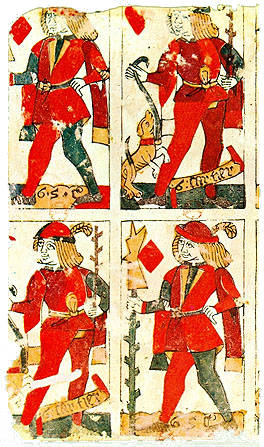Fragment of an uncut sheet showing four cards, mid-fifteenth century