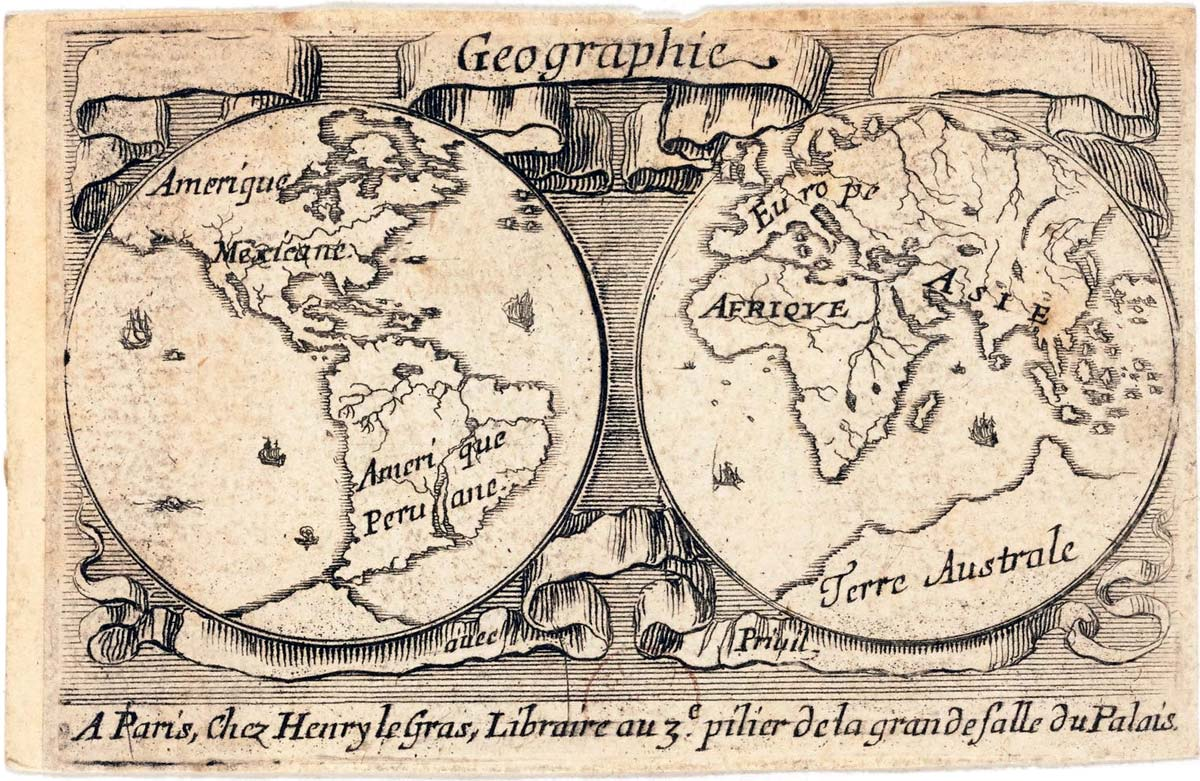"""""""Jeu de Géographie"""" educational playing cards etched by Stefano Della Bella (1610-1664) and published by Henry le Gras, c.1644"""