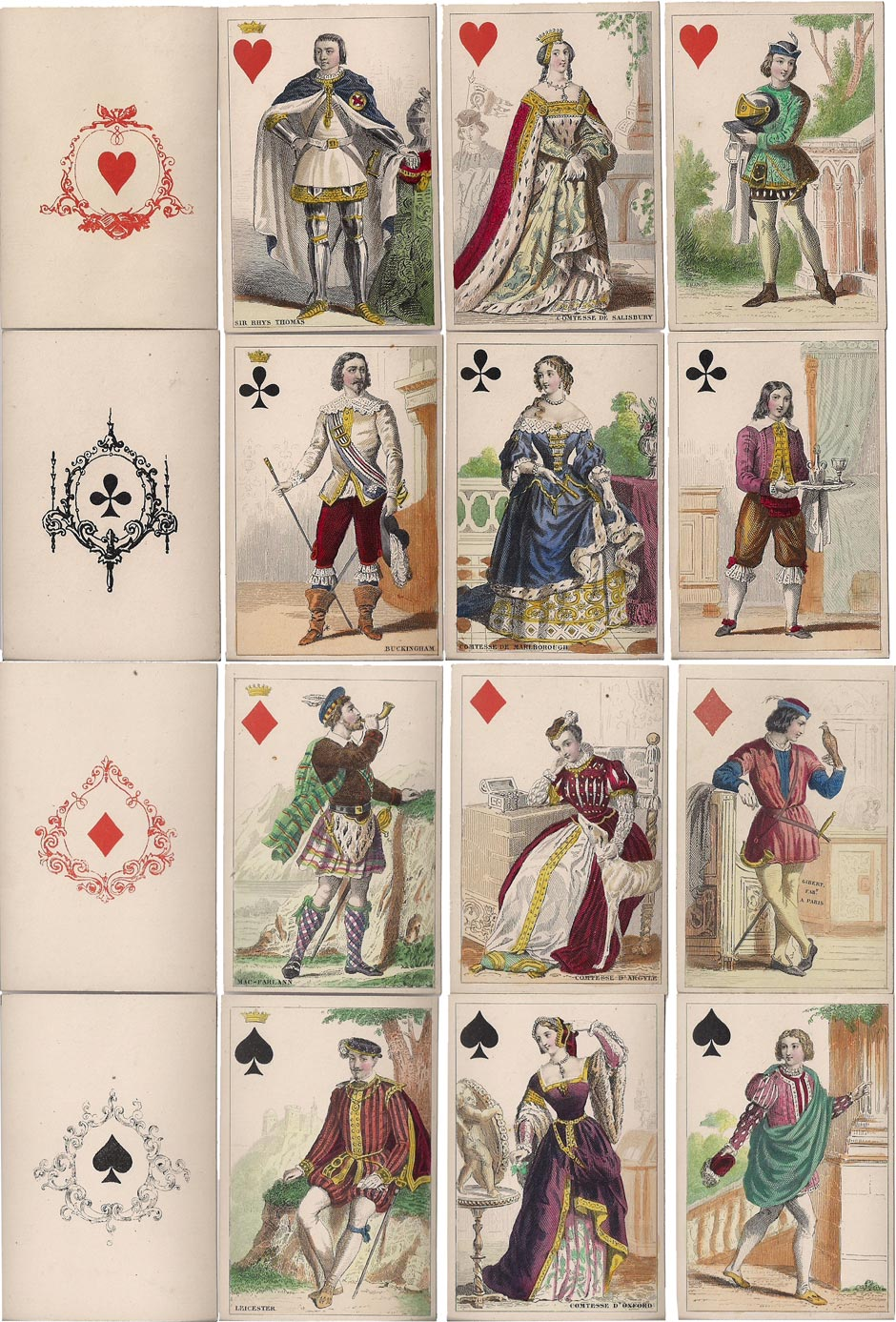 cards from a hand-coloured costume set by O. Gibert, Paris, c.1856
